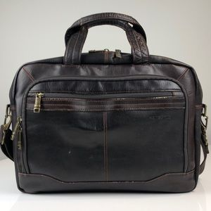 Samsonite Brown Leather Toploader Briefcase